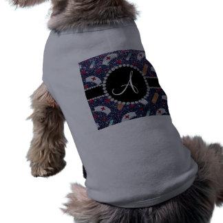 Monogram navy blue glitter nurse hats heart pet shirt