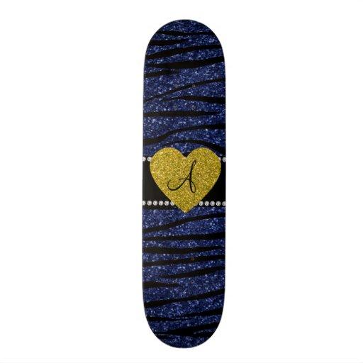 Monogram navy blue glitter zebra stripes heart custom skateboard