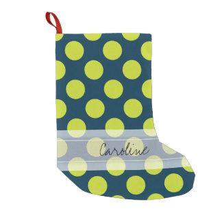Monogram Navy Blue Green Chic Polka Dot Pattern Small Christmas Stocking