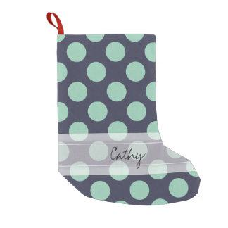 Monogram Navy Blue Mint Green Polka Dot Pattern Small Christmas Stocking