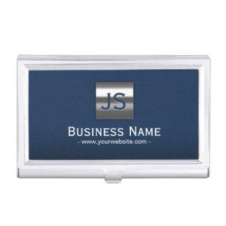 Monogram Navy Blue Modern Metal Frame Professional Business Card Holder