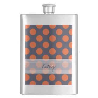 Monogram Navy Blue Orange Chic Polka Dot Pattern Flask