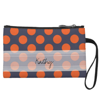 Monogram Navy Blue Orange Chic Polka Dot Pattern Wristlet Clutches