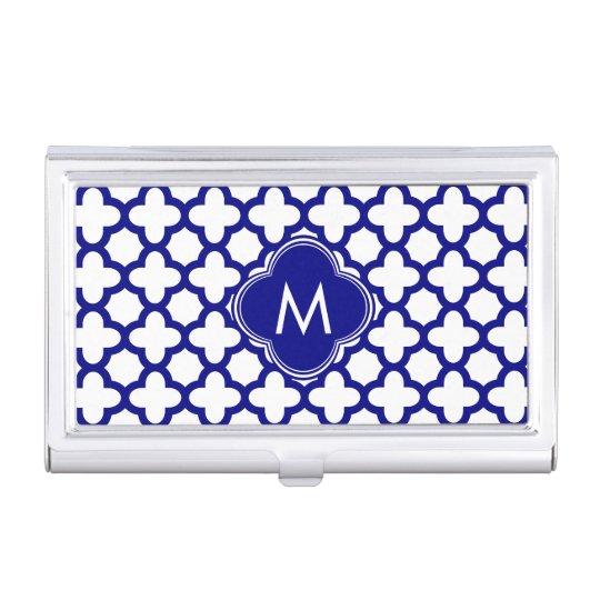 Monogram Navy Blue Quatrefoil Pattern Business Card Cases