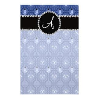 Monogram navy blue snowman trellis pattern custom stationery