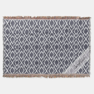 Monogram Navy Blue Tribal Ikat Diamond Pattern Throw