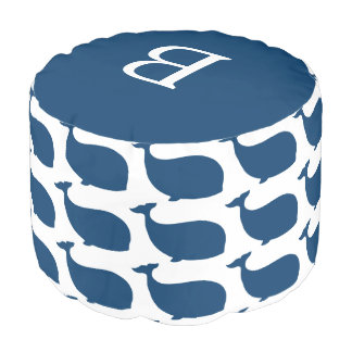 Monogram Navy Blue Whale Pattern Pouf