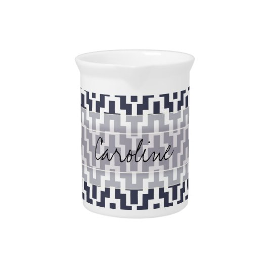 Monogram Navy Blue White Ikat Chevron Geo Pattern Drink Pitcher