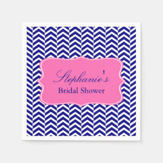 Monogram Navy Blue with Hot Pink Chevron Bridal Disposable Napkin
