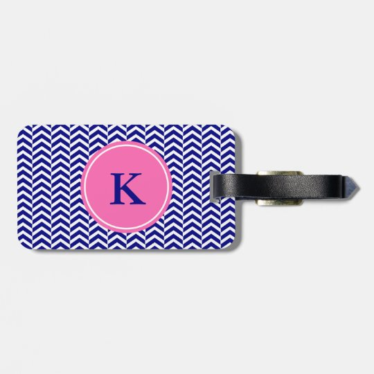 Monogram Navy Blue with Hot Pink Chevron Pattern Bag Tag