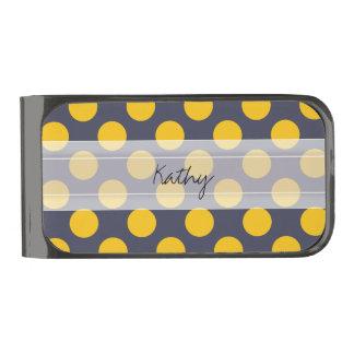Monogram Navy Blue Yellow Chic Polka Dot Pattern Gunmetal Finish Money Clip