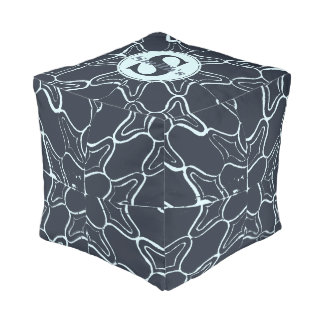 Monogram Navy Grunge Geometric Damask Tile Pattern Pouf