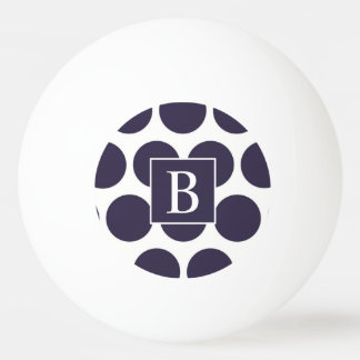 Monogram Navy Polka Dot Ping Pong Ball