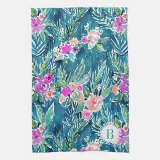 Monogram NAVY TROPICAL PARADISE Hawaiian Hibiscus Kitchen Towel