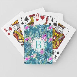 Monogram NAVY TROPICAL PARADISE Hawaiian Hibiscus Playing Cards
