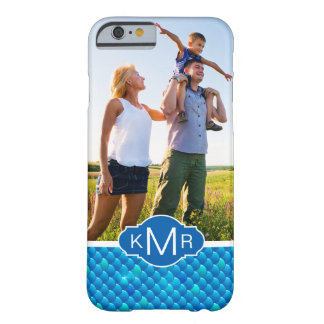 Monogram | Neon Blue Fish Scales Barely There iPhone 6 Case