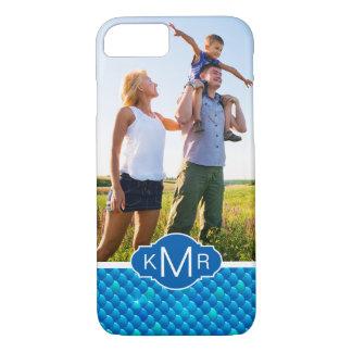 Monogram | Neon Blue Fish Scales iPhone 8/7 Case