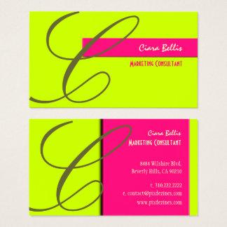 Monogram /Neon Colors /DIY Colors Business Card