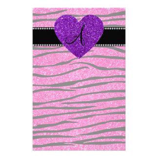Monogram neon hot pink glitter zebra stripes pink custom stationery