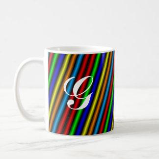 MONOGRAM NEON STRIPE COFFEE MUG