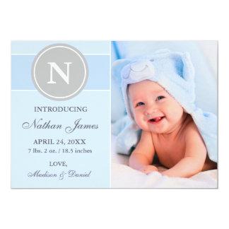Monogram New Baby Announcement Blue