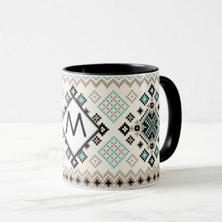 Monogram Nordic Cross Stitch Pattern Mug