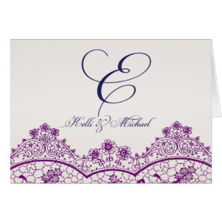 Monogram notecard with Vintage Lace