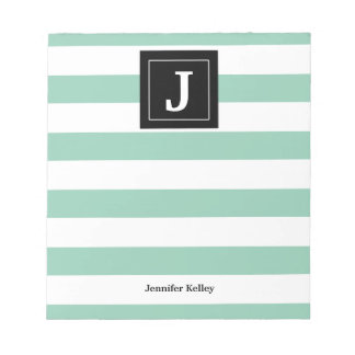 Monogram Notepad Mint Green Stripes, Black