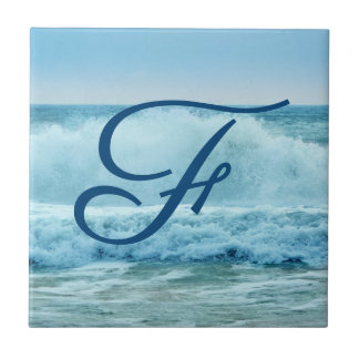 Monogram Ocean Wave Crashing on Shore Tile