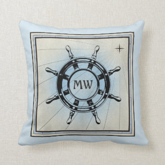 Monogram Old Helm Vintage Blue Nautical Compass Throw Pillow