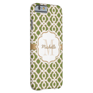 Monogram Olive Green and Gold Quatrefoil Barely There iPhone 6 Case