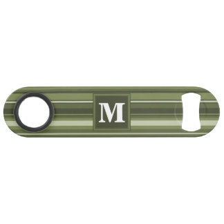 Monogram olive green stripes bar key