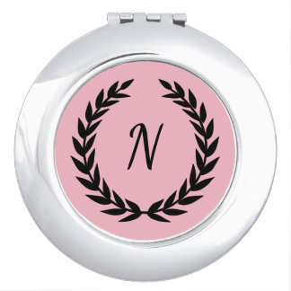 Monogram_Olive-Leaf-Initial_Pink--Black Makeup Mirror