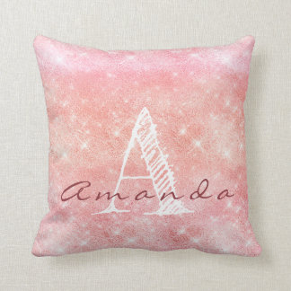 Monogram Ombre Name Pink Candy Pastel Watercolor Throw Pillow