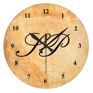 Monogram on a Brown  terracotta brick wall Large Clock