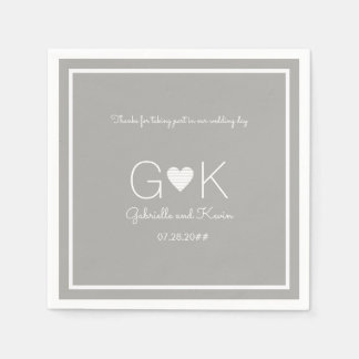 monogram on a gray wedding napkin with message paper napkin