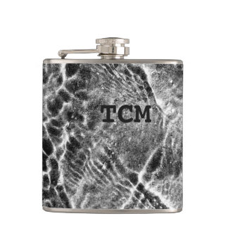 Monogram on abstract black and white pattern flask