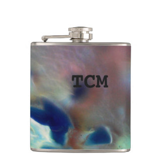 Monogram on abstract marble blue purple red hip flask