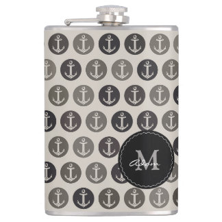 Monogram on Anchors Pattern Hip Flask