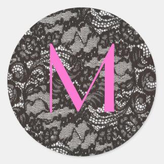 Monogram on Black Lace sticker