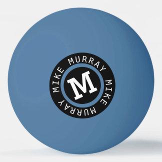 monogram on blue ping pong ball