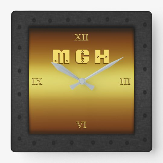 Monogram on brass-effect with riveted steel frame wall clocks