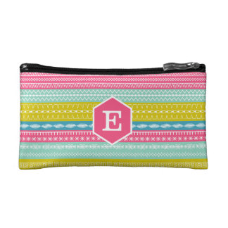 Monogram on bright candy colored sewing stitches cosmetic bag