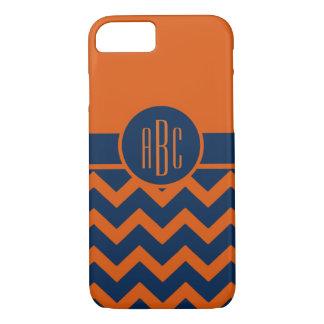 Monogram on Burnt Orange and Navy Blue iPhone 7 Case
