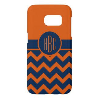 Monogram on Burnt Orange and Navy Blue Samsung Galaxy S7 Case
