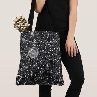 Monogram on Chain Black Glitter ID145 Tote Bag