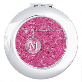 Monogram on Chain Pink Glitter ID145 Compact Mirrors