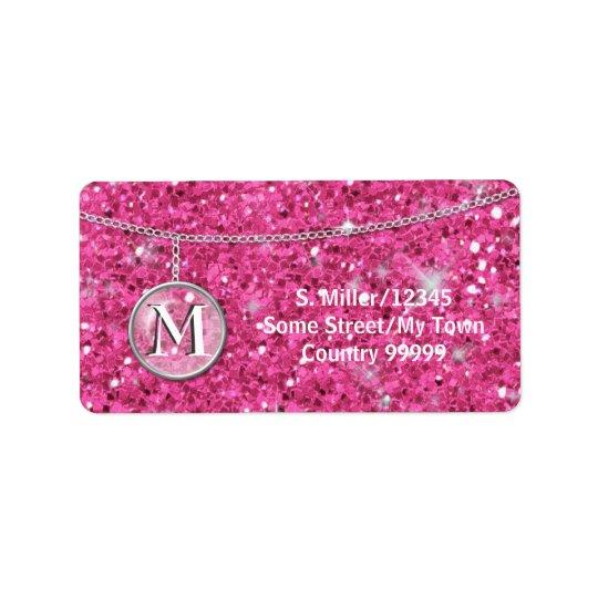 Monogram on Chain Pink Glitter ID145 Label