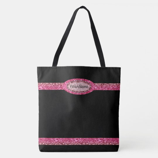 Monogram on Faux Glitter Tote Bag
