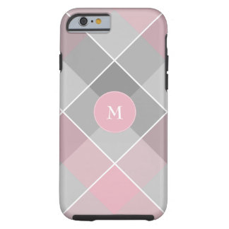 monogram on gray and pink checkered plaid tough iPhone 6 case